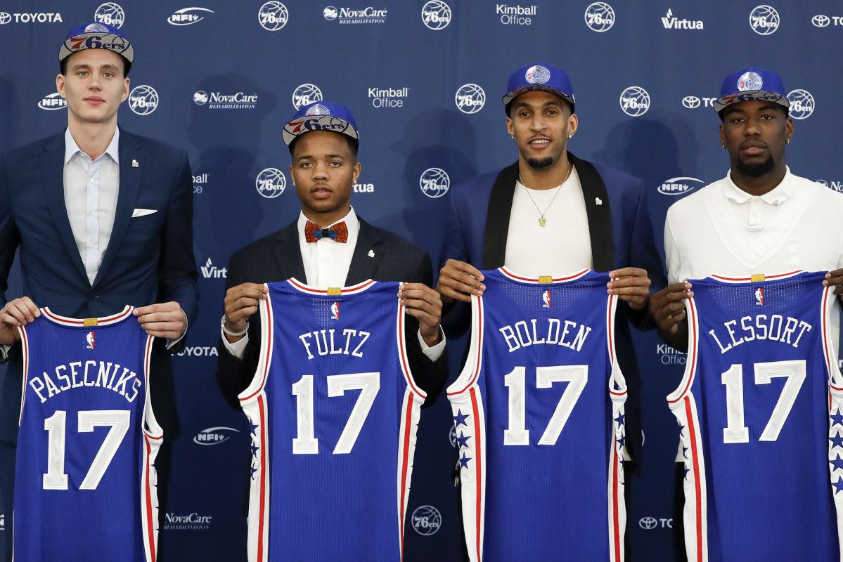 The Philadelphia 76ers' 2017 draft picks, from left, Anzejs Pasecniks, Markelle Fultz, Jonah Bolden and Mathias Lessort, at the team's training complex in Camden, N.J., on Friday, June 23, 2017. (Yong Kim/Philadelphia Daily News/TNS)