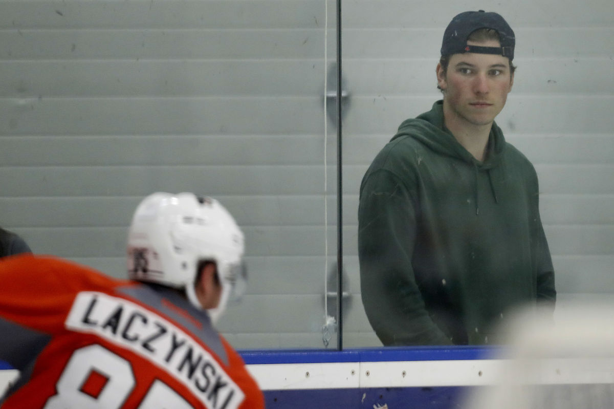 Nolan Patrick watches development camp at the Flyers Skate Zone in Voorhees on July 8.