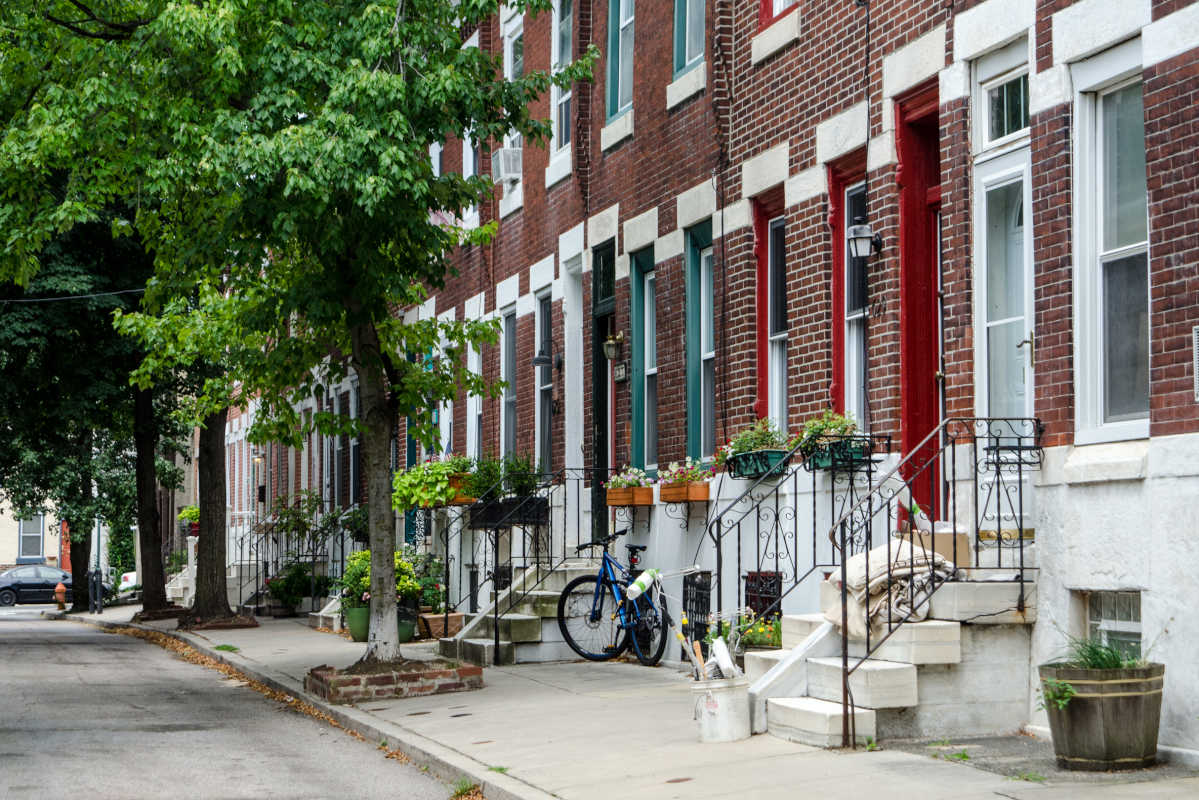 Homes along Bambrey St. in the Southwest Center City neighborhood of Philadelphia. This neighborhood, located in the 19146 Zip code, experienced the highest number of home sales in the second quarter of 2017.