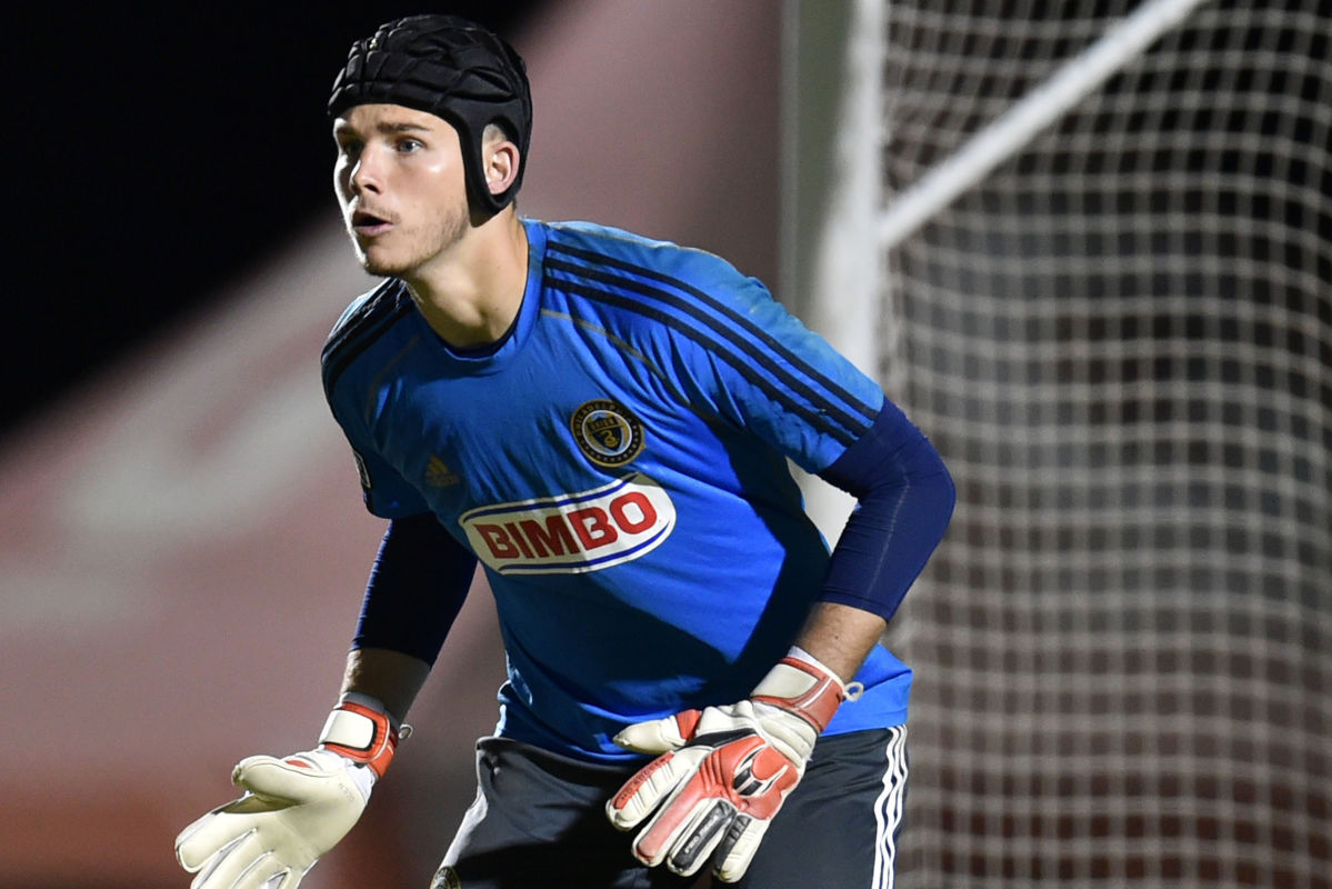 Goalkeeper John McCarthy made five saves Saturday night in Columbus, but the Union lost to the Crew, 1-0. (Photo from Feb. 21, 2015)<br /><br />