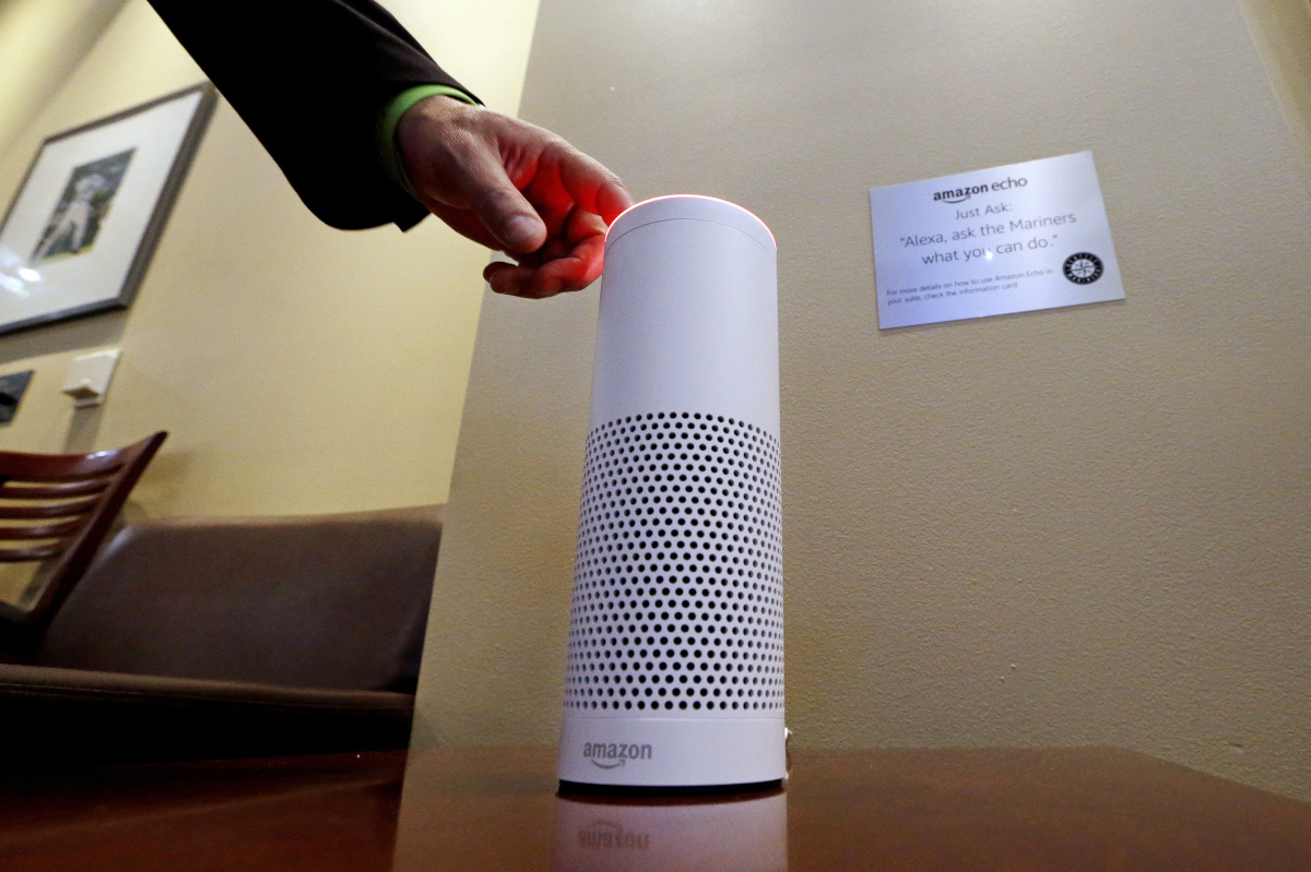 An Amazon Alexa device is switched on for a demonstration of its use in a ballpark suite before a Seattle Mariners baseball game in Seattle.