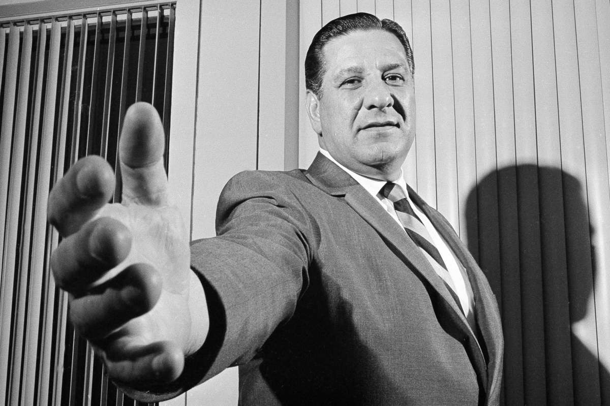 Philadelphia Police Commissioner Frank Rizzo, later elected mayor, extends his hand to greet a visitor to his office in the Philadelphia Police Department's headquarters in January 1968.