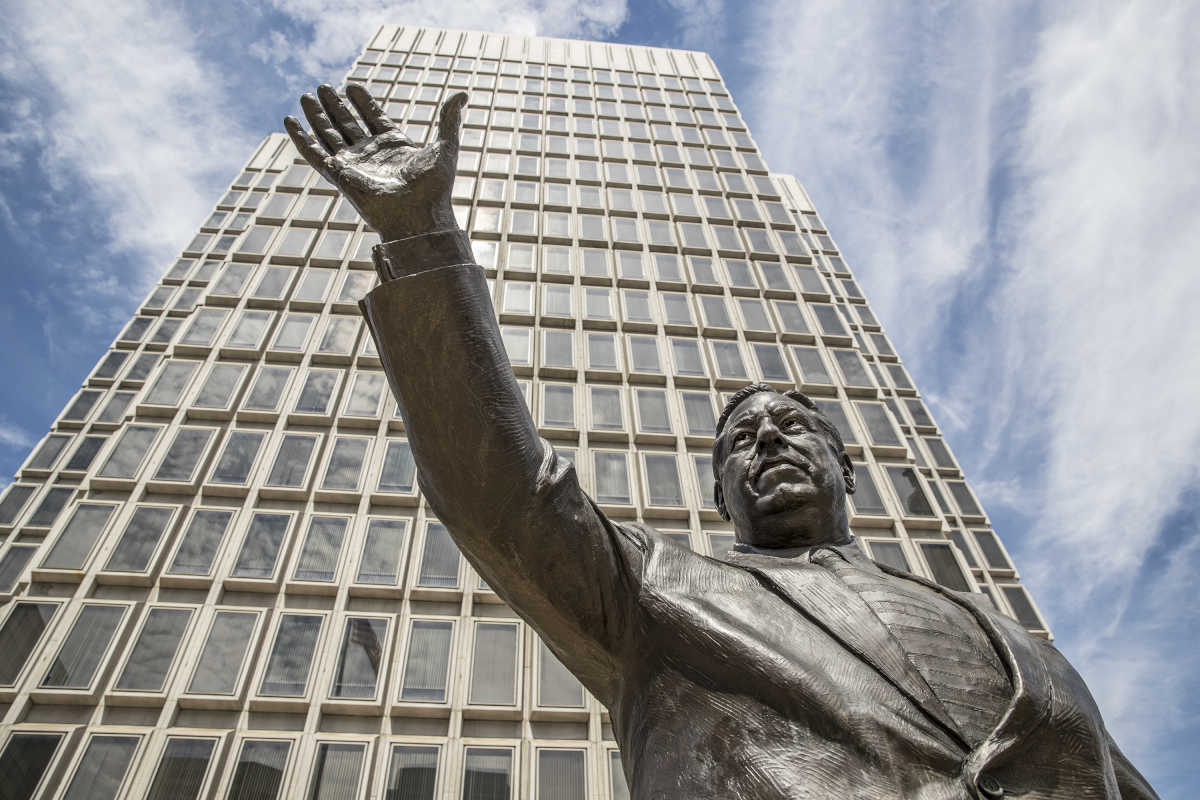 The statue of former mayor Frank Rizzo stands in the Thomas Paine Plaza, Municipal Services Building across from Philadelphia city hall. There is now a movement to have the statue removed.