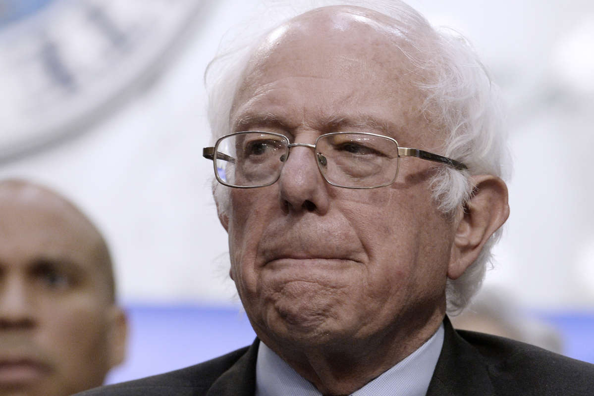 "Sen. Bernie Sanders, I-Vt., at a news conference to unveil his ""Medicare for All"" plan."