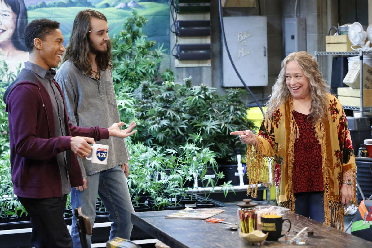 "From left, Aaron Moten, Dougie Baldwin, and Kathy Bates in the new Netflix show ""Disjointed."""
