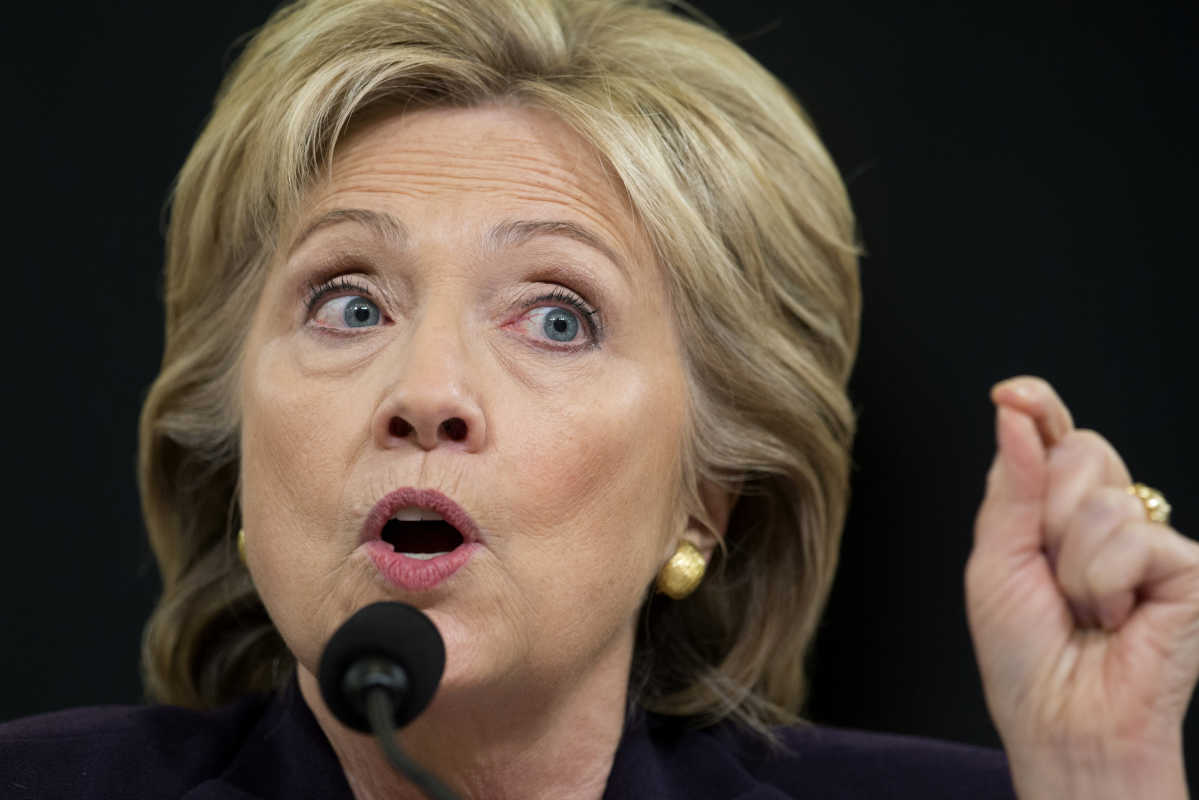 Then-Democratic presidential candidate, former Secretary of State Hillary Clinton testifies on Oct. 22, 2015 on Capitol Hill in Washington, before the House Benghazi Committee. Trump is again tweeting about the FBI's handling of the Hillary Clinton email server investigation.