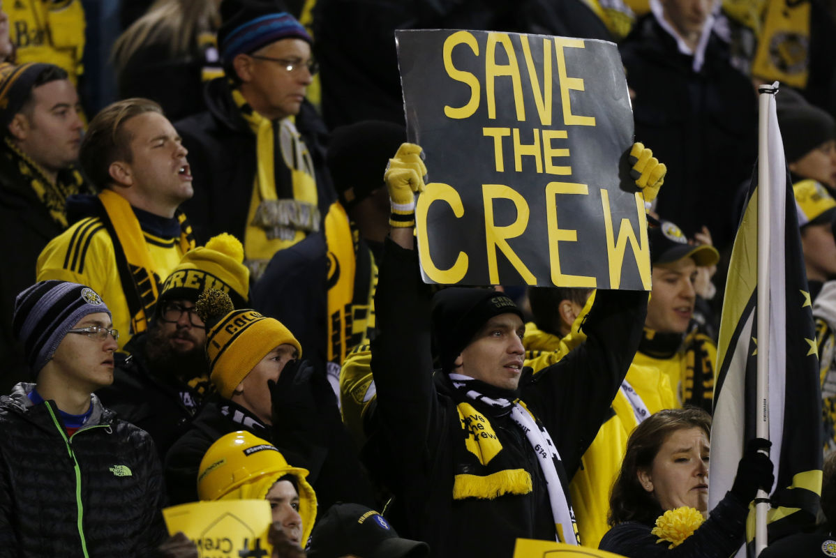 Columbus Crew fans show their support for their team as they play against Toronto FC during the MLS Eastern Conference championship first leg at MAPFRE Stadium. The Crew's owner has recently threatened to move the team to Austin, Texas after the 2018 season.