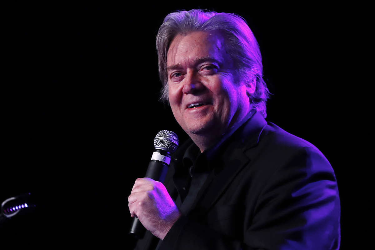 Steve Bannon, the former chief strategist to President Donald Trump, speaks at the Macomb County Republican Party dinner in Warren, Mich., on Wednesday, Nov. 8, 2017.