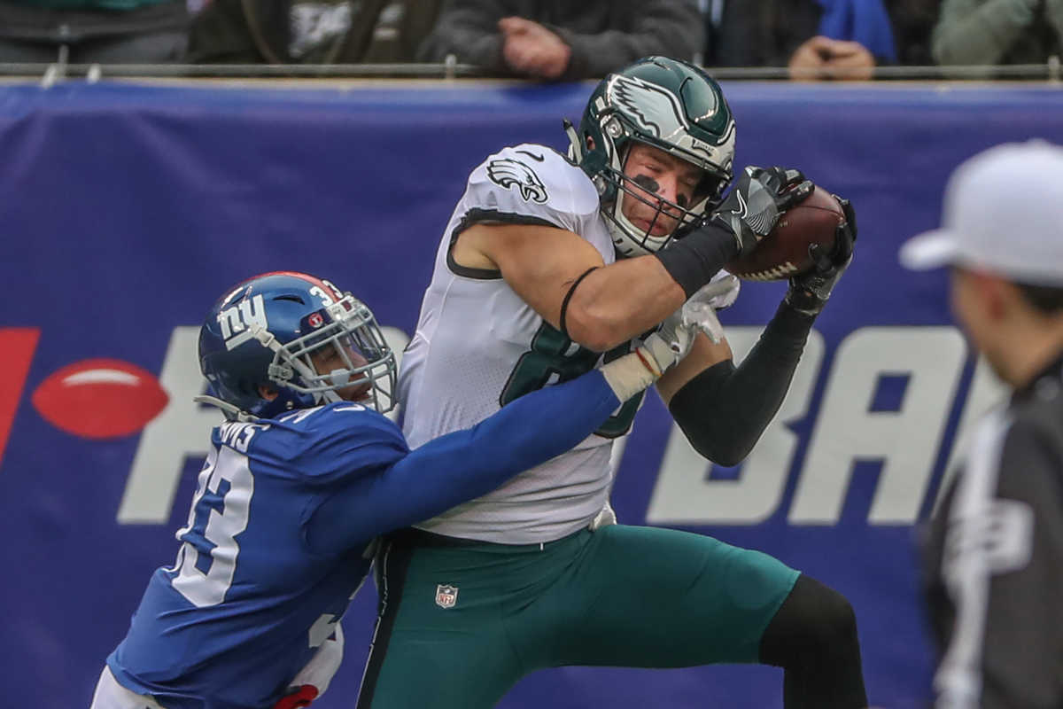 Eagles Zach Ertz, #86, right, hauls in a touchdown pass from Nick Foles in the second quarter over the Giants #33, Andrew Adams, left, for the Eagles second touchdown of the half at Met Life Stadium on Sunday, Dec. 17, 2017.
