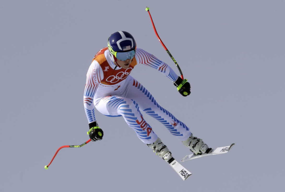 United States' Lindsey Vonn jumps while competing in the women's downhill at the 2018 Winter Olympics in Jeongseon, South Korea, Wednesday, Feb. 21, 2018. (AP Photo/Luca Bruno)