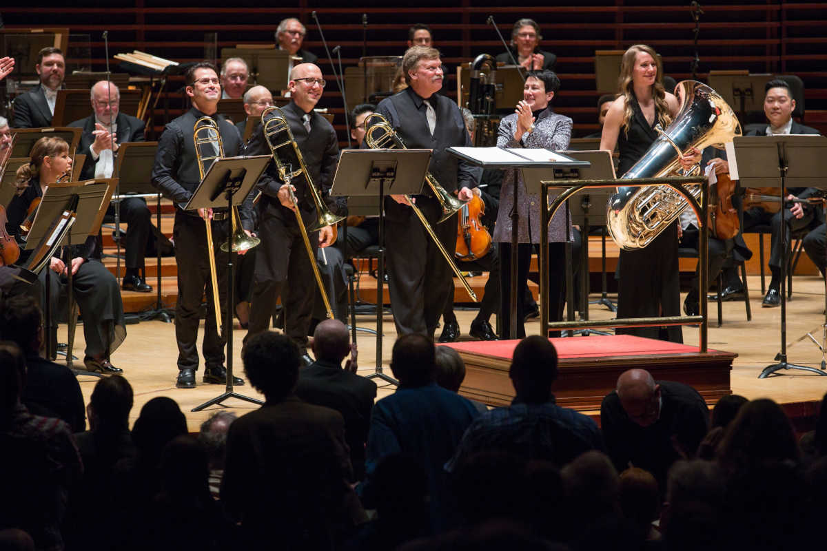 (Left to Right) Trombonist Nitzan Haroz, trombonist Matthew Vaughn, Blair Bollinger on bass trombone, Philadelphia composer Jennifer Higdon, and tubist Carol Jantsch, at the Kimmel Center, Saturday, February 24, 2018.