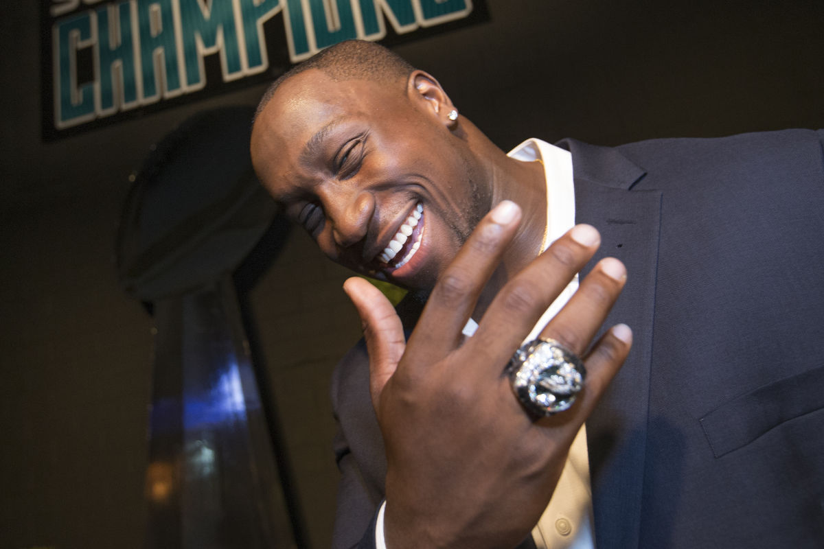 Aziz Shittu of the Eagles shows off his Super Bowl ring. The Eagles got their rings at a private party at 2300 Arena on June 14, 2018.