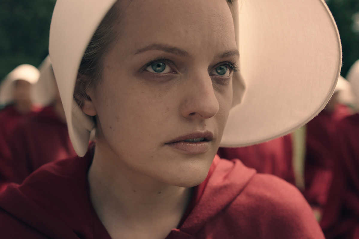 """Elisabeth Moss as Offred in """"The Handmaid's Tale"""" on Hulu."""