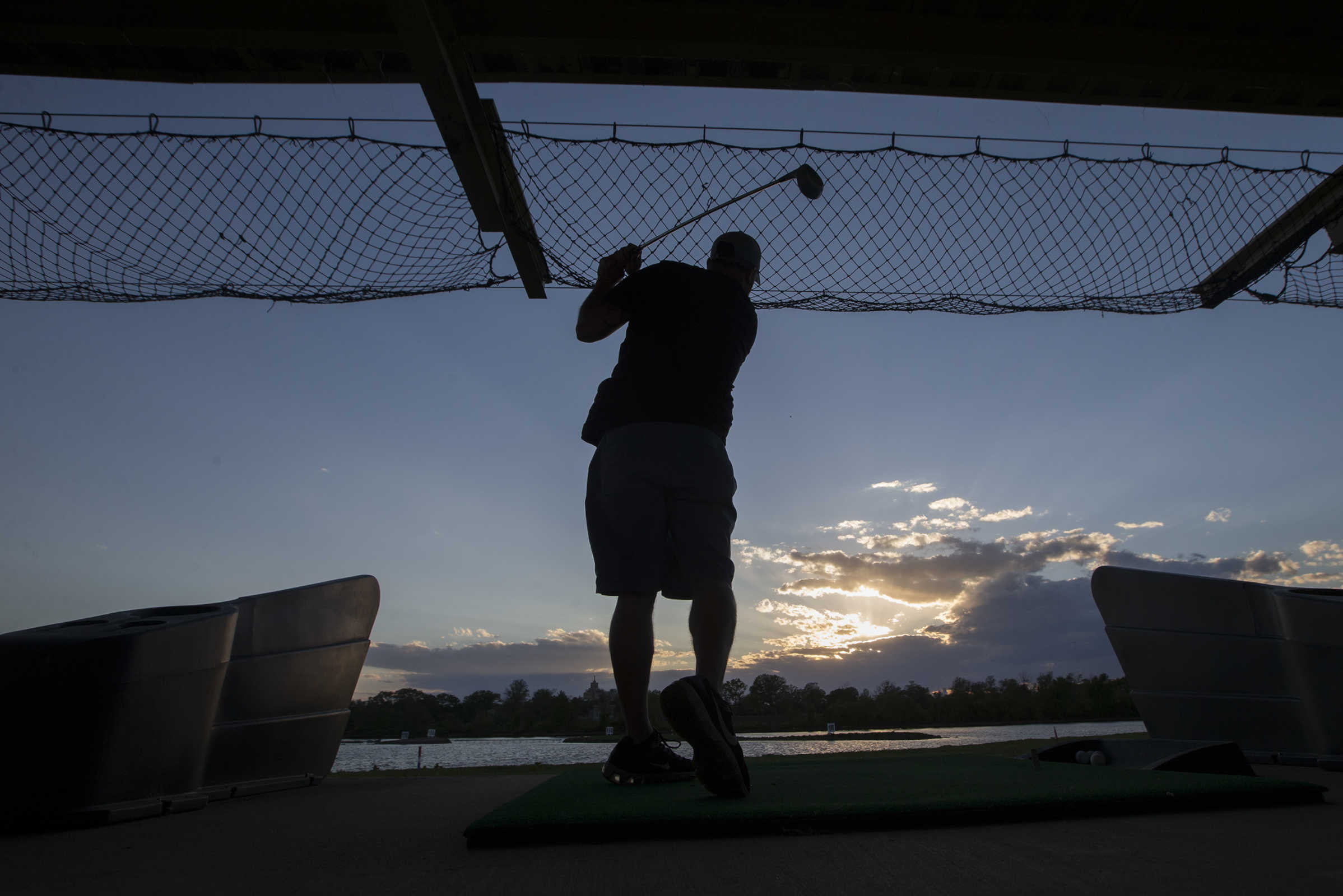 Recovery addicts are getting free golf lessons every Tuesday night as part of their road to recovery. Participant Ryan Hetrick seen here at the Camden County Golf Academy.