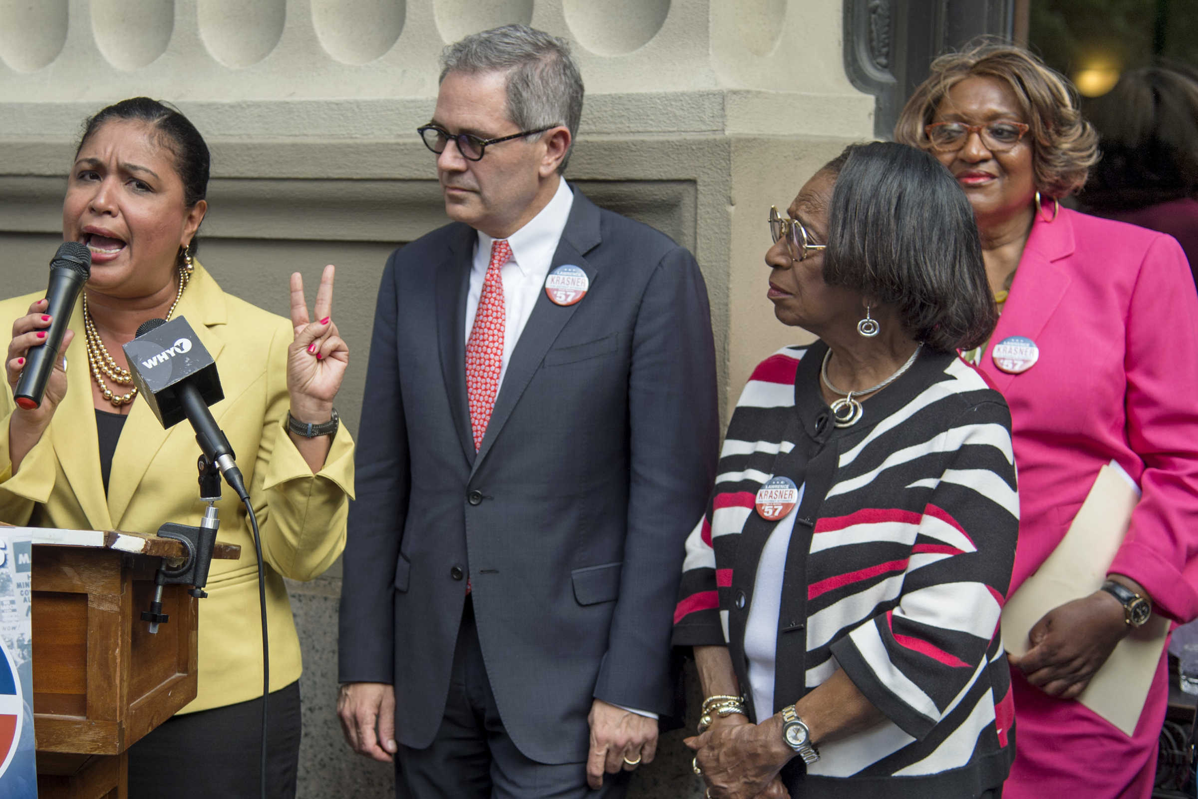 Democratic District Attorney candidate Larry Krasner is endorsed by Councilwoman Maria Quiñones Sánchez (left) former City Councilwoman Marian Tasco (second from right) and State Rep. Isabella Fitzgerald (right) outside the DA's Office May 1, 2017.