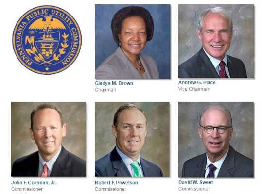 The five members of the Pennsylvania Public Utility Commission.