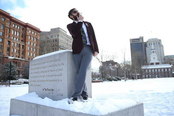 Marijuana activist N.A. Poe smokes a joint on Independence Mall in February 2015. Poe, whose real name is Rich Tamaccio, and 21 others were arrested Saturday night when police busted a marijuana party he organized in Frankford.