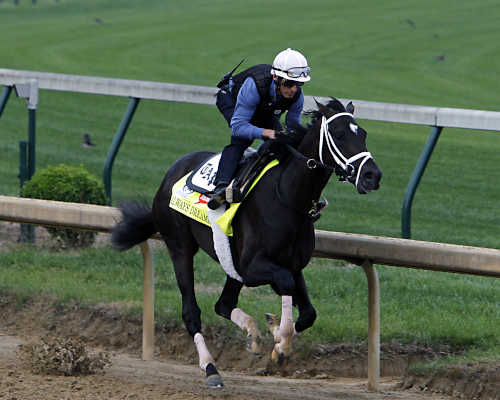 Kentucky Derby 143 hopeful Always Dreaming works out under jockey John Velazquez at Churchill Downs in Louisville, Ky., Friday, Apr.28, 2017. Always Dreaming is one of five colts eyeing the May 6th race from the barn of trainer Todd Pletcher.  (AP Photo/Garry Jones)