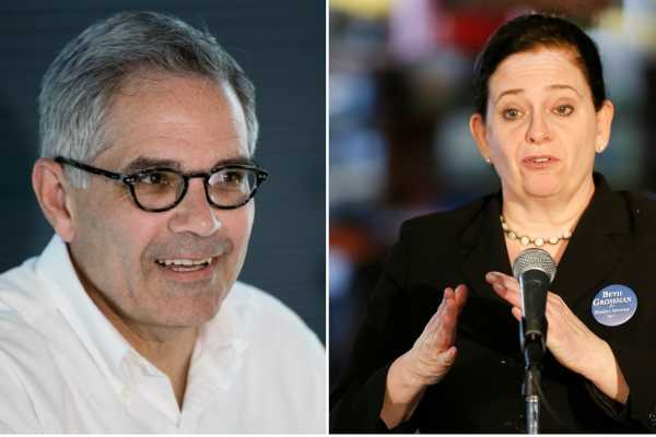 Democrat Larry Krasner (left) and Republican Beth Grossman will face off in the Nov. 7 general election for district attorney in Philadelphia.