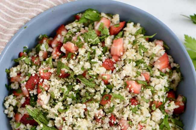 Strawberry Hemp Seed Tabbouleh. Photos by Emily Watson