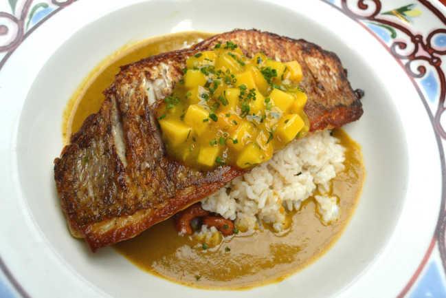 Pargo a la Plancha: Olive oil griddled Florida red snapper, with mango salsa at Cuba Libre. Photo credit: From Cuba Libre
