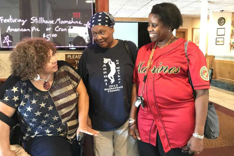 Alvina Wimbish (left), Connie Davis and Diane Smith are among the very few women who attend a post-traumatic stress disorder peer support group that meets at the Garden State Diner.