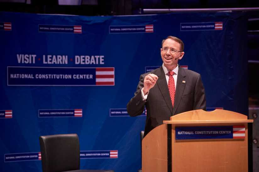 Deputy Attorney General Rod Rosenstein delivers an address at the National Constitution Center as part of a celebration of the anniversary of the ratification of the Constitution Monday night.