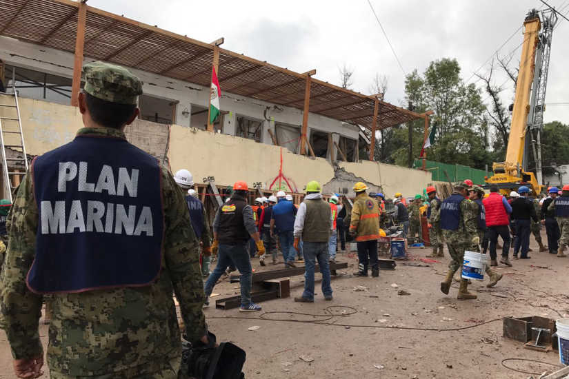 Search and rescue efforts continue at the Enrique Rebsamen school in Mexico City, Mexico, Thursday, Sept. 21, 2017.