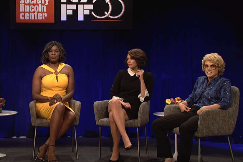 "Viola Davis (Leslie Jones), Marion Cotillard (Cecily Strong), and Debette Goldry (Kate McKinnon) discuss Harvey Weinstein and sexual harassment in Hollywood with a moderator played by Aidy Bryant on the Saturday, Oct. 14, 2017, episode of ""Saturday Night Live."""