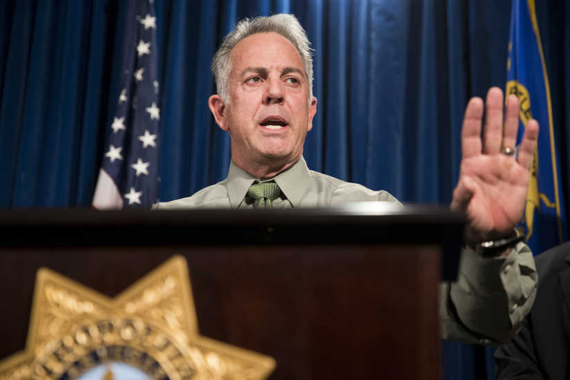 Clark County Sheriff Joe Lombardo in a 2016 file photo. A lawyer for Las Vegas police told a judge on Jan. 16 that charges could be filed in connection with the deadliest mass shooting in modern U.S. history, even though the gunman is dead.