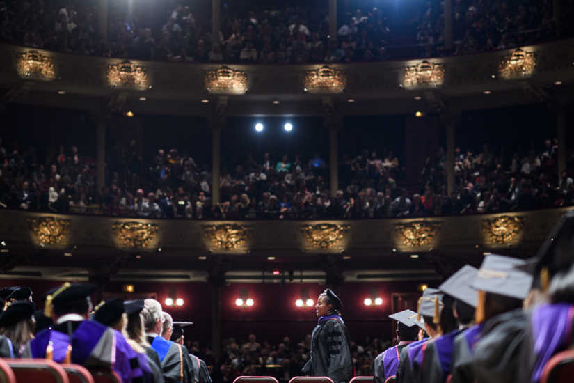 A student walks during Penn Law´s graduation ceremony in 2017.
