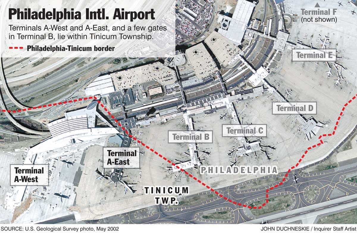 While most of Philadelphia International Airport is in Tinicum Township, Delaware County, more of the terminal area is in Philadelphia.