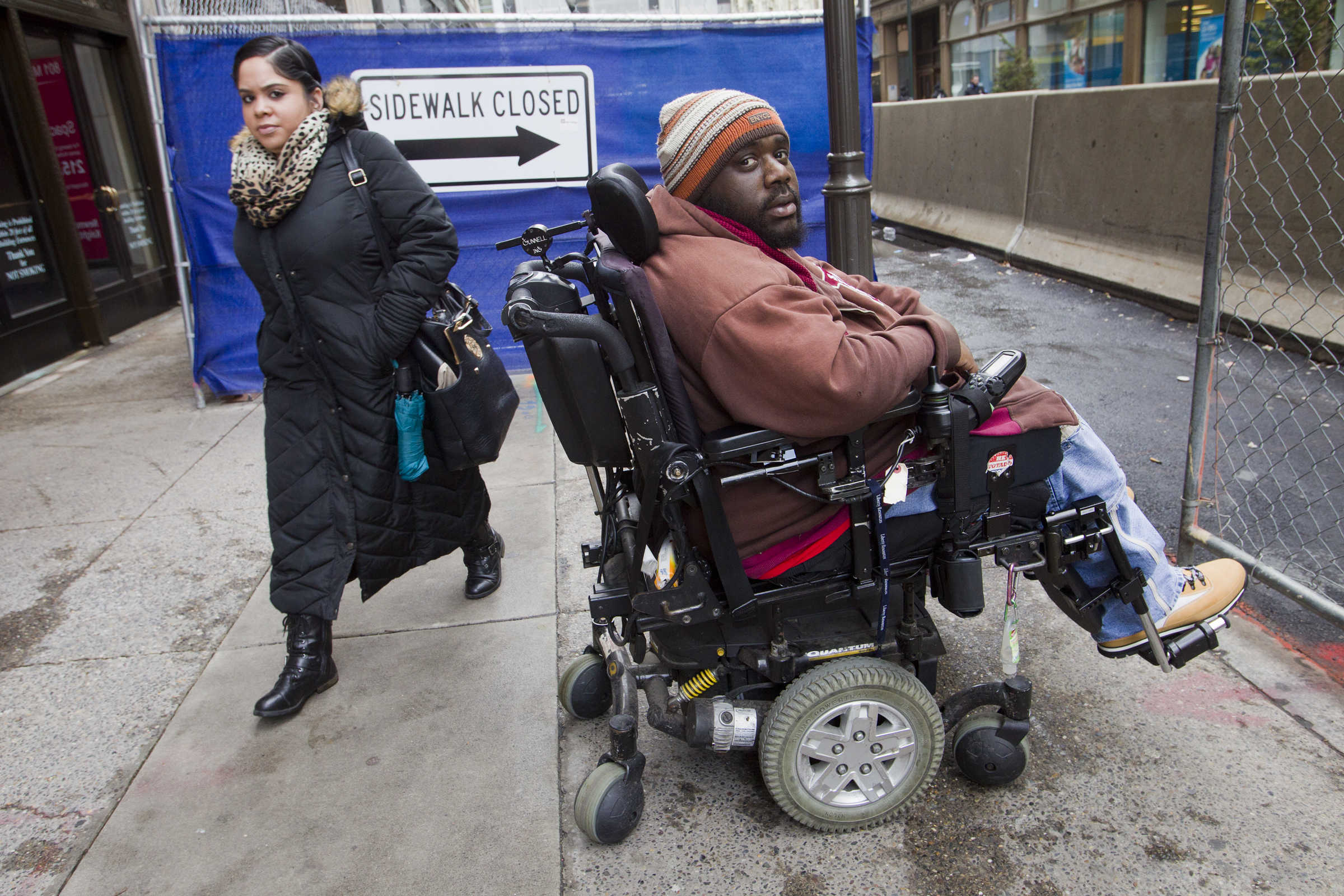 Zachary Lewis of Philadelphia is a paraplegic. He was struck by a car near Island Ave and Lindberg Blvd in southwest Philadelphia. Lewis is independent and get around on his own. Photograph taken on Friday afternoon March 10, 2016 along 8th just north of Market St.  ALEJANDRO A. ALVAREZ / Staff Photographer