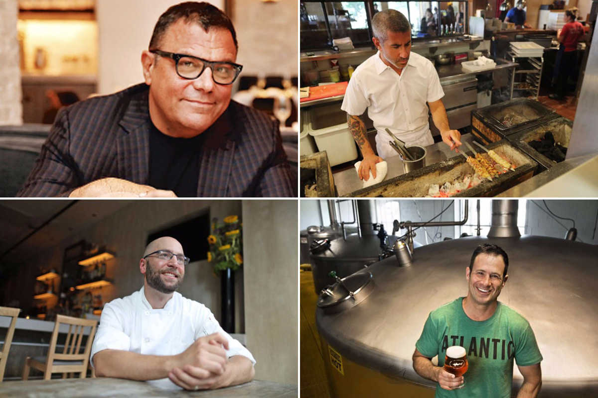 Four James Beard winners from the Philadelphia area in 2017 (clockwise from top left): Stephen Starr, Michael Solomonov, Sam Calagione, and Greg Vernick.