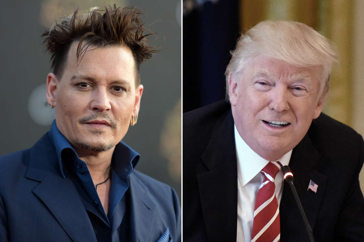 Johnny Depp (left) has apologized for a remark he made about the possible assassination of President Trump.