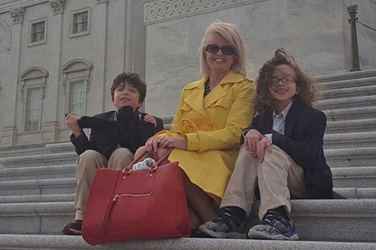 Anna Corbin of Hanover and her sons in Washington, D.C.