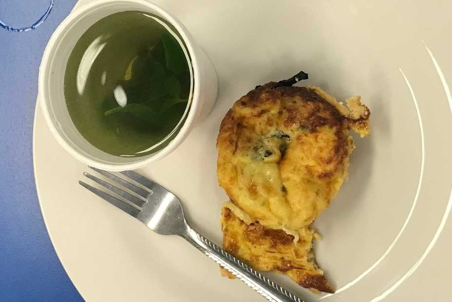 Mini frittata muffins and mint tea prepare during week 1 of the fall 2017 My Daughter's Kitchen cooking program.