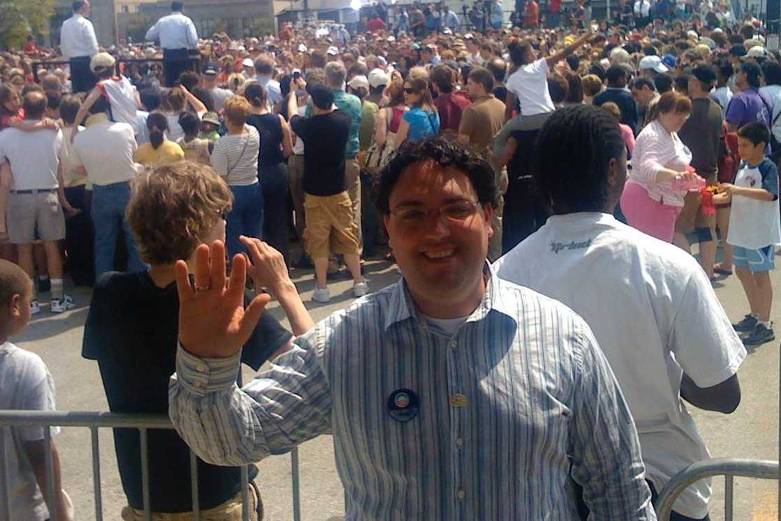 """Adam Swope during Barack Obama's PA """"whistle stop tour"""" in 2008."""