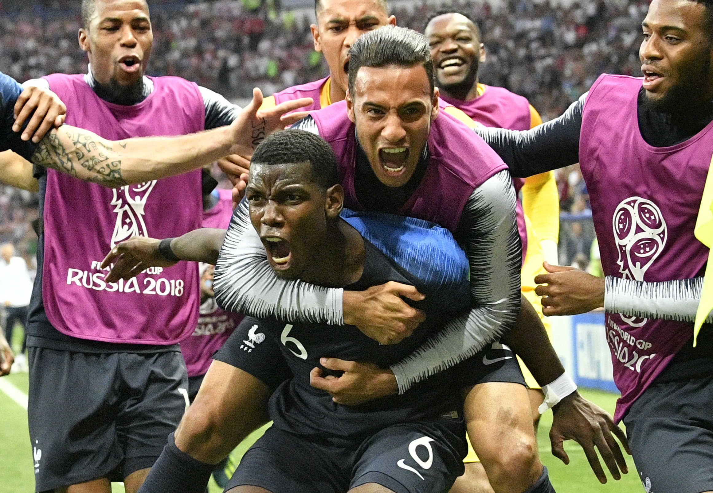 Paul Pogba celebrates after scoring France's third goal against Croatia in the World Cup final. It proved to be the game-winner.