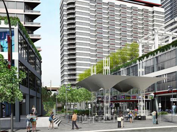 A rendering of the proposed Renaissance Plaza residential/retail complex at 400 N. Columbus Boulevard from the architectural firm Alesker & Dundon.