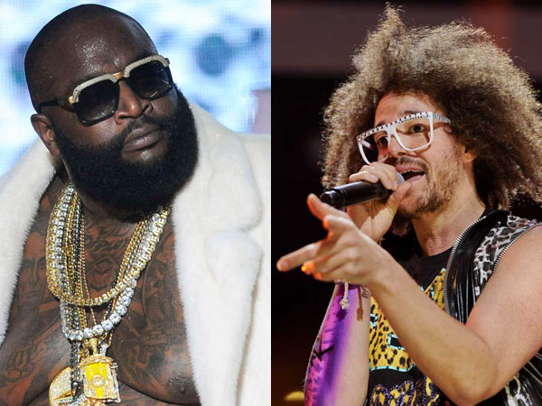 Rapper Rick Ross (left) and singer RedFoo of LMFAO (right). (Photos via AP)