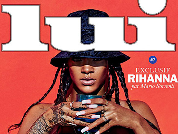 Rihanna on the cover of Lui – the censored version, of course.
