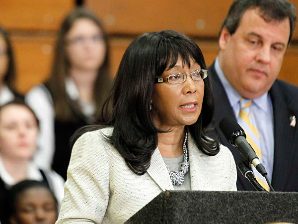 FILE: Rochelle Hendricks, secretary of Higher Education, speaks at a news conference with Gov. Christie in 2012. JULIO CORTEZ / AP