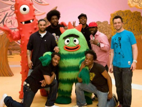 "The Roots on the set of kids show ""Yo Gabba Gabba!"""