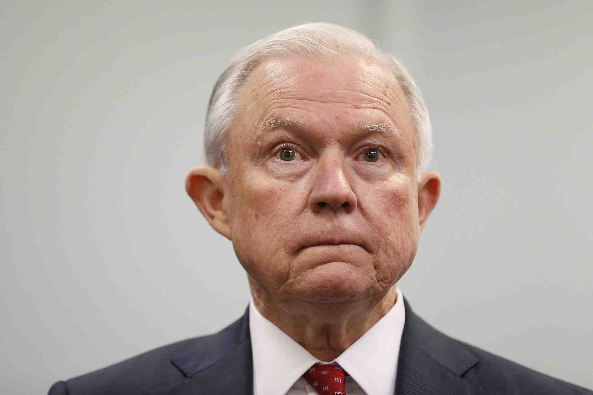 Attorney General Jeff Sessions waits to speak at the U.S. Attorney´s office in Philadelphia, PA on July 21, 2017.