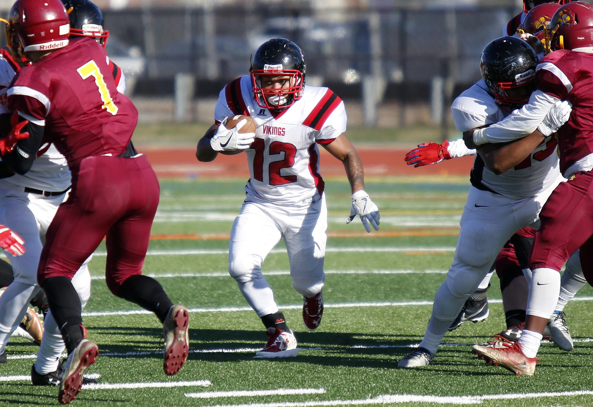 Northeast running back Daniel Scott finds an opening against Central in the first quarter of the teams´ annual Thanksgiving Day football game Thursday, Nov. 23, 2017, at Northeast. The host Vikings went on to win, 28-0.