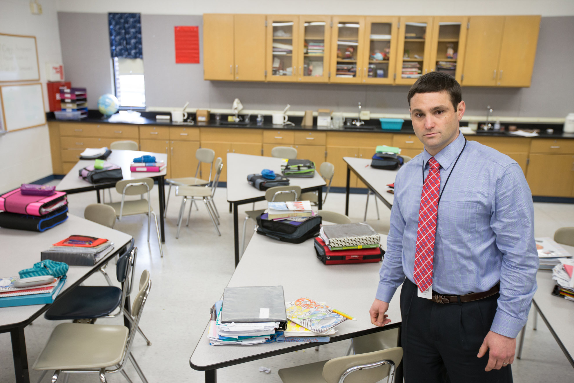 Principal Michael Zackon in one of the under equipped science labs at Milford Middle School, in Quakertown, Pennsylvania, Friday, March 31, 2017. Quakertown School District has raised taxes every year for the past three decades, but still finds itself $5 million dollars in debt. The superintendant has proposed closing three schools, including Milford Middle School, which is an older school that lacks basic facilities such as lab tables, an auditorium, and sufficient classrooms.