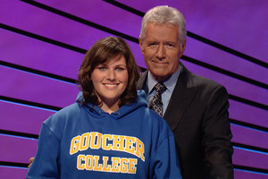 "Sarah Bart with Alex Trebek on the set of ""Jeopardy"""