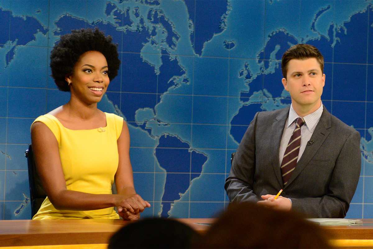 """""""Saturday Night Live"""" cast member Sasheer Zamata, seen here on """"Weekend Update"""" alongside Colin Jost, is leaving the show after three seasons."""