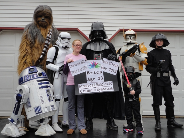 Erica Schmidt, center, with her Star Wars costuming club buddies.  They dress up for the Make A Wish Foundation and other charities.